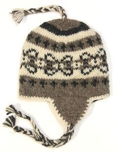 7cd300a682ea3 Cold Weather · Nepal Hand Knit Ear Flaps Beanie Ski Wool Fleeced Hat  Natural Color  15.98 Holiday Boutique
