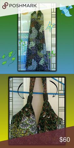 NWT - Gorgeous beaded dress Showcases a sort of peacock effect for the design, and is a maxi dress with a v neck, and a strap that supports around the neck.  Circular beads adorn the straps above the chest to give it that extra spark ChristinaLove Dresses