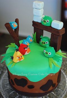 Angry birds cake -my alterations ;) twix, marshmallows, cake balls...gram crackers :))!