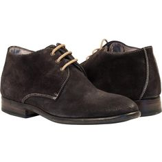 PAOLO IANTORNO Gala Antracite Dark Grey Suede Dip Dyed Desert Chukka... (390 CAD) ❤ liked on Polyvore featuring shoes, boots, dark grey, suede boots, suede leather boots, suede leather shoes, dip dye shoes and chukka shoes