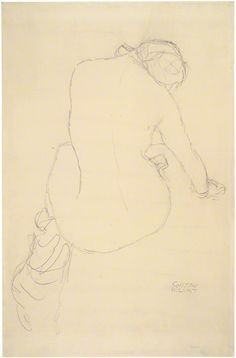 Seated Female Nude, Seen from Behind (Study for The Virgin), Gustav Klimt, 1911–12. Albertina, Vienna