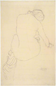 Seated Female Nude, Seen from Behind (Study for The Virgin), Gustav Klimt, 1911–12. Albertina, Vienna