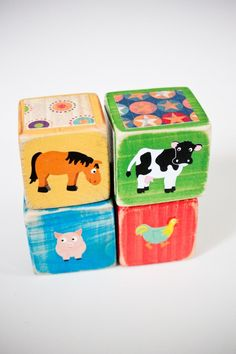 four wooden collage farm baby blocks by breelash on Etsy, $18.00