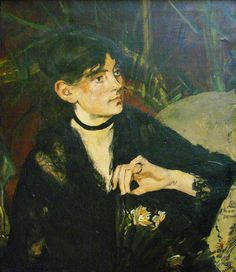 1874 Édouard Manet (French artist, 1832–1883) Portrait of Berthe Morisot (French artist, 1841-1895) t à l'éventail