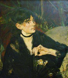 1874 Édouard Manet (French artist, 1832–1883) Portrait of Berthe Morisot (French artist, 1841-1895) t à l'éventail