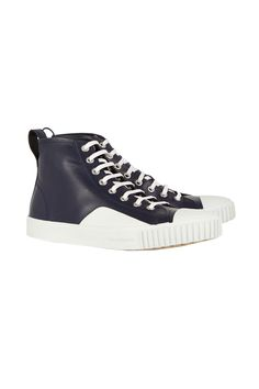 Glossy navy leather makes these high tops dressy enough for the office, while the retro style works effortlessly with any off-duty outfit.    Balenciaga Leather High-Top Sneaker, $535; Net-a-porter.com   - MarieClaire.com