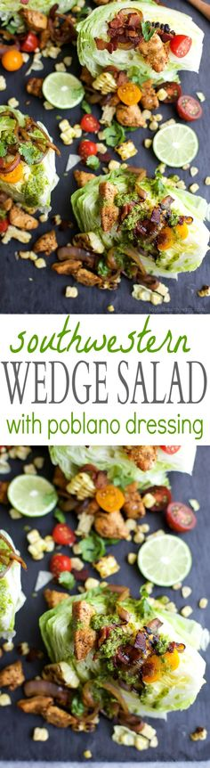 SOUTHWESTERN WEDGE SALAD with seasoned chicken, bacon, onion rings, charred corn a POBLANO DRESSING you'll adore. The wedge salad only takes 30 minutes to make & is under 400 calories a serving! | http://joyfulhealthyeats.com | Gluten Free Recipes