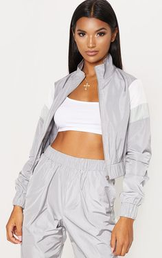 The Grey Stripe Shell Tracksuit Top. Head online and shop this season's range of tops at PrettyLittleThing. Express delivery available. Two Piece Pants Set, Two Piece Dress, Two Piece Outfit, Dance Outfits, Cute Outfits, Tracksuit Tops, Blazer And Shorts, Daily Dress, Pink Fashion