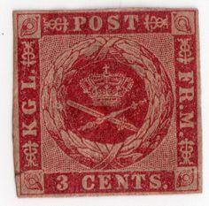Danish West Indies Scott #1 3¢ Dark Carmine WM Small Crown Imperf  1855-66 cv275
