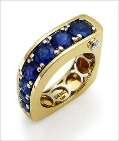 Ring | Gerry N Lewy.  'Waterfall' Gold and Genuine Blue Sapphires/Diamonds