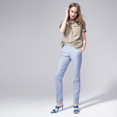 J.Crew Looks We Love: Women's Bowery pant in pond blue stripe, 2-strap slide Boyd sandal in Positano blue, and pullover shirt in ivory navy.