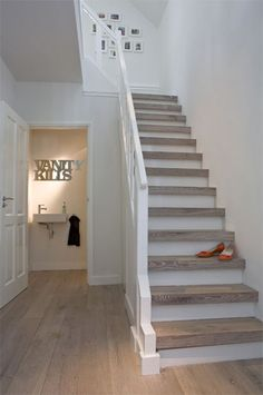 white natural stairs