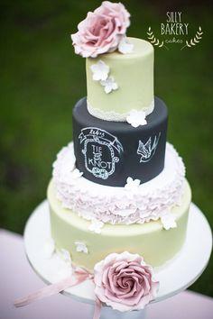 mint and black chalkboard wedding cake