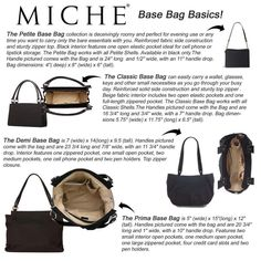 The Base Bags, pick your size! http://saldridge.miche.com