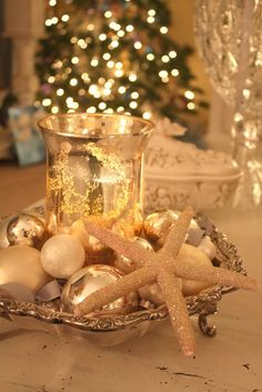 Add a little beach to your Christmas decorating...candle centerpiece