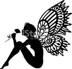 Fairy smelling a rose silhouette Royalty Free Stock Vector Art Illustration Silhouette Cameo, Fairy Silhouette, Silhouette Vector, Silhouette Images, Fairy Templates, Fairy Lanterns, Fairy Jars, Deco Originale, Desenho Tattoo