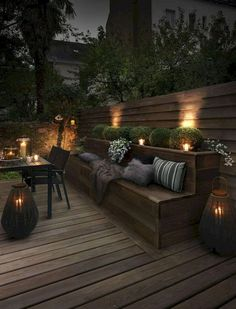 45 Cute Backyard Seating Area Ideas - Summer days and nights are great for enjoying the outdoors. The best way to enjoy the summer is by using your outdoor seating area in your garden. Backyard Seating, Backyard Patio Designs, Outdoor Seating Areas, Backyard Landscaping, Outdoor Spaces, Outdoor Living, Outdoor Decor, Deck Patio, Patio Ideas