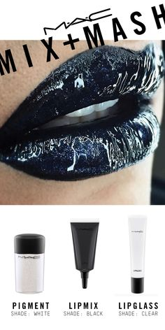 Created with Lipmix in Black topped with Lipglass in Clear and Glitter in Reflects Blue.