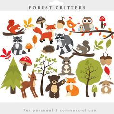 whimsical forest clip art | Woodland clipart - forest clip art, cute, whimsical, critters, forest ...