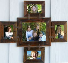 """Rustic Montana (4) 4x6 and (1) 8x10 1.5"""" Wide Multi Frame Horizontal Collage Barnwood Picture Frames Barn Wood Distressed Country Western by NorthernStarHomeGood on Etsy"""