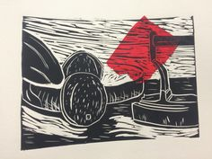 Lino print with chine colle