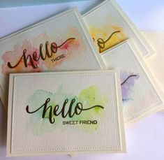 Watercolor Cards - How beautiful! Stamped, Embossed, Watercolors, and voila! ~ http://mixedmethod.wordpress.com