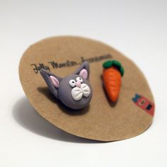 Rabbit & Carrot Polymer Clay Earrings on Etsy, $7.55 AUD