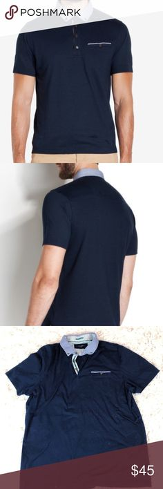 """6341b615041bc1 Ted Baker Dipstic Navy Gingham Collar Polo 27.5"""" length 21"""" armpit to  armpit. Size tag missing but is similar to their 2 sizing which is a  small medium see ..."""