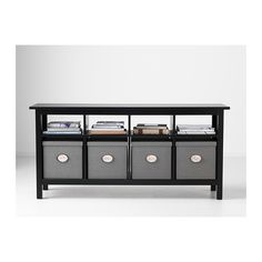 might work... HEMNES sofa table $219 also comes in light brown and white + KVARNVIK Box with lid - gray or white $17 each - IKEA
