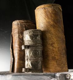 Africa | Old Ethiopian scrolls; filled with prayers and healing texts ~ written in ge'ez and interspersed with little talismanic paintings | ca. 19th century or earlier | ©Susan Barrett Price and her friend Jim Historical Artifacts, Ancient Artifacts, Handmade Journals, Handmade Books, Old Books, Vintage Books, Dream Book, Inspirational Books, Book Binding