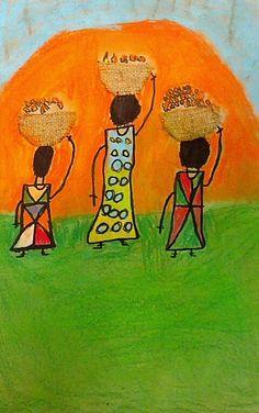 Africa, Culture, Chalk Pastels