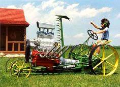 Eleven lawn mowers that you'll wish you had. Something funny for lawn mower lovers to ponder during the cold months. Old John Deere Tractors, Small Tractors, Vintage Tractors, Vintage Farm, Lawn Tractors, Tractor Pulling, Chevy Pickup Trucks, Country Life, Country Living