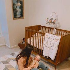 west elm x pbk Mid-Century Convertible Baby Crib Vintage Nursery, Baby Nursery Decor, Sherwin Williams Store, Old Baby Cribs, Mid Century Nursery, Brown Crib, Mismatched Furniture, Convertible Crib, Crib Mattress