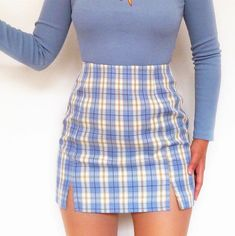 Vintage Blue Color Block Checker Split Skirt sold by Tony Moly Store. Shop more products from Tony Moly Store on Storenvy, the home of independent small businesses all over the world. Indie Outfits, Teen Fashion Outfits, Retro Outfits, Girly Outfits, Look Fashion, Cute Skirt Outfits, Cute Comfy Outfits, Stylish Outfits, Cool Outfits