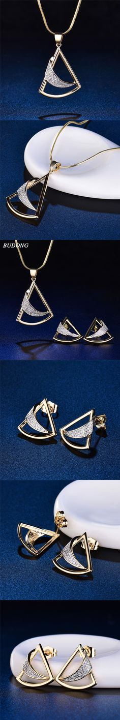 BUDONG Vintage Wedding Jewelry Sets Geometric Triangle Moon Design New Marquise Cut AAA Cubic Zirconia Earrings XUT031A