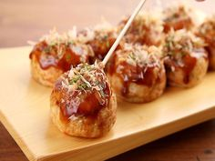 Takoyaki, or grilled octopus, is a puff ball of dough - street food of Osaka.