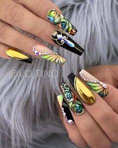 2019 Elegant and Trendy Nail Art Designs Glam Nails, Fancy Nails, Bling Nails, Stiletto Nails, Trendy Nail Art, Stylish Nails, Best Acrylic Nails, Ballerina Acrylic Nails, Gorgeous Nails