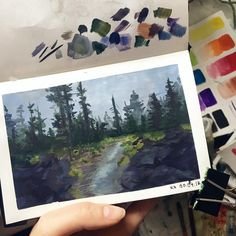 """112 Likes, 6 Comments - Mary (@jens_heart) on Instagram: """"I think I'm getting into habit of one landscape per day, which is good. I also limited my palette…"""""""