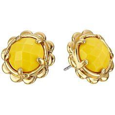 Kate Spade New York Scalloped Edge Studs Earrings (Yellow) Earring (130 BRL) ❤ liked on Polyvore featuring jewelry, earrings, accessories, brincos, earrings jewelry, post earrings, kate spade, stud earrings and kate spade earrings