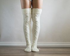 Cable Knit Over the Knee Socks from RubyandGemma
