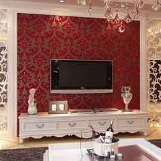 European Damask Velvet 3D Non-Woven Wall Paper Red Living Room Bedroom Background Wallpaper Home Decor Floral Wall Covering Roll