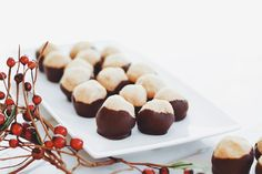 Delicious vegan recipes from Earth Balance. Have fun cooking & baking with principle. Plant-based, non-GMO, and trans fat-free. Plant-Made. Chocolate Buckeyes, Peanut Butter Buckeyes, Vegan Peanut Butter, Chocolate Peanut Butter, Vegan Dessert Recipes, Delicious Vegan Recipes, Vegan Sweets, Vegan Food, Fun Cooking