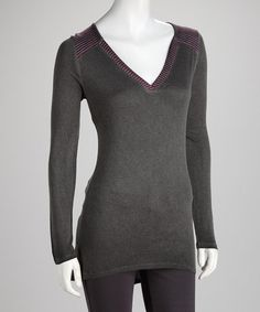 Take a look at this Charcoal Stripe V-Neck Top by Gypsy Daisy & Libertalia on #zulily today! $15