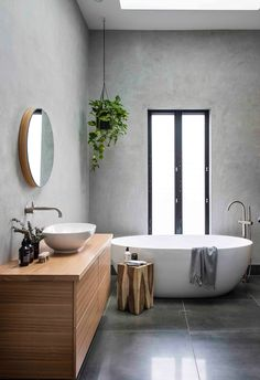 Grey washed walls in bathroom with timber vanity, indoor hanging plants and a free standing bath. Serene Bathroom, Modern Bathroom Design, Bathroom Interior Design, Beautiful Bathrooms, Small Bathroom, Modern Bathrooms, Bathroom Ideas, Bathroom Laundry, Bathroom Showers