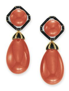 ~A PAIR OF CORAL, DIAMOND AND ENAMEL EAR PENDANTS, BY DAVID WEBB   Each suspending a detachable coral drop with a sculpted 18k gold and black enamel cap, to the surmount set with a cabochon coral within a circular-cut diamond and black enamel surround, mounted in 18k gold and platinum