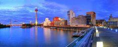 Düsseldorf Mediehafen vom Hyatt aus gesehen