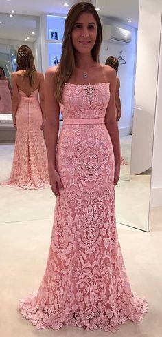 Elegant Strapless Pink Mermaid Long Pink Lace Prom Dress Evening Dress - Thumbnail 1