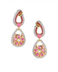 Pear Shape Earrings with Pink Flower