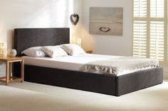 Buy the Sterling Fabric Charcoal Fabric Ottoman King Size Bed at Oak Furniture Superstore