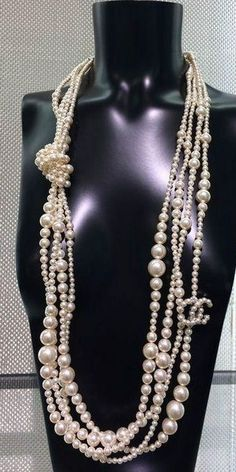 Chanel: 2014 Runway Chanel Iconic Multi Strand Pearl CC Necklace New Chanel Necklace, Chanel Pearls, Fashion Necklace, Pearl Necklace, Fashion Jewelry, Pendant Necklace, New Bag, Pendants, Jewels